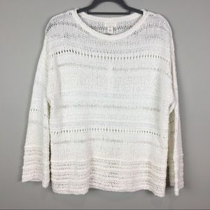 Caslon white summer sweater open weave
